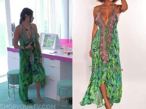 aimee flores, green palm print dress, love island usa