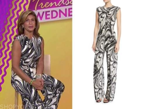 hoda kotb, the today show, black and white swirl jumpsuit