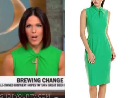 dana jacobson, green twist dress, cbs this morning