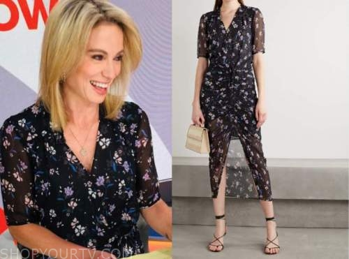 amy robach, good morning america, purple floral ruched dress, amy robach