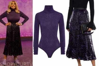 wendy williams, the wendy williams show, purple turtleneck, purple pleated skirt