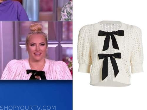 meghan mccain, the view, black and white bow sweater