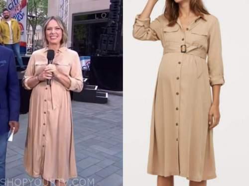 the today show, dylan dreyer, beige maternity shirt dress