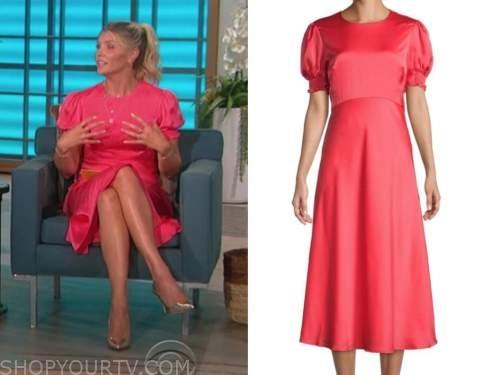 amanda kloots, the talk, pink puff sleeve dress