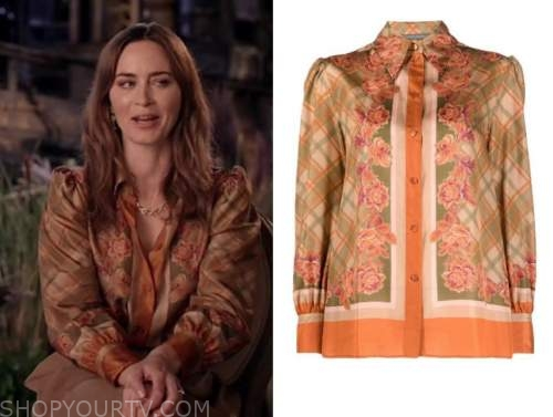 emily blunt, live with kelly and ryan, orange floral check blouse
