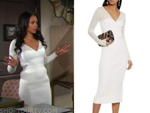 mishael morgan, the young and the restless, white knit top and skirt, amanda sinclair