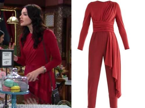 tessa porter, cait fairbanks, the young and the restless, red draped jumpsuit