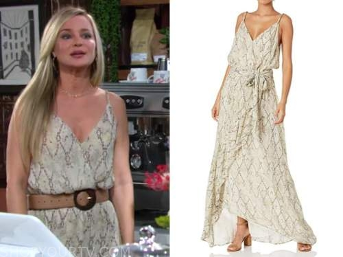 sharon newman, sharon case, the young and the restless, snakeskin maxi dress