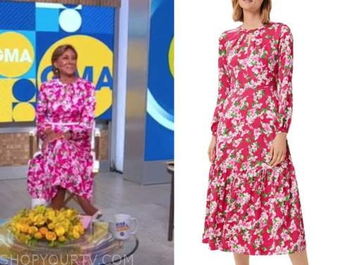 robin roberts, good morning america, pink floral dress