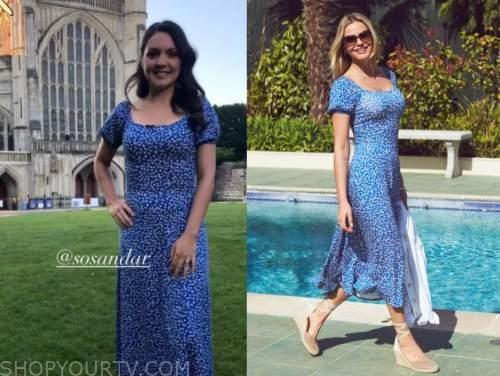laura tobin, good morning britain, blue floral midi dress