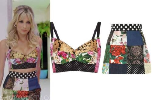 arielle vandenberg, love island usa, patchwork crop top and skirt