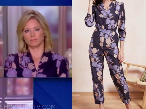 sara haines, the view, purple floral jumpsuit