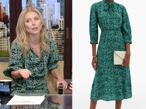 live with kelly and ryan, green tie neck dress, kelly ripa