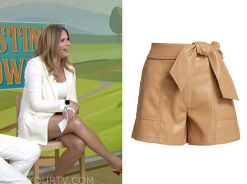the today show, jenna bush hager, tan leather shorts