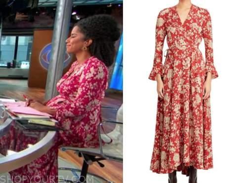 adriana diaz, cbs this morning, floral wrap dress
