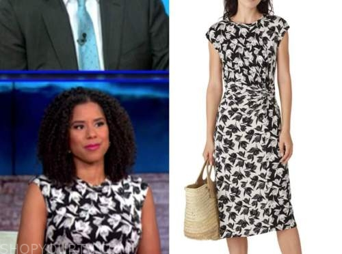 adriana diaz, black and white floral dress, cbs this morning
