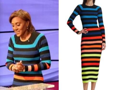 robin roberts, jeopardy, multicolor striped knit dress