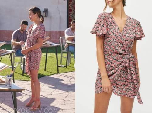 katie thurston, the bachelorette, pink floral wrap mini dress