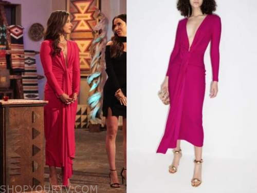katie thurston, the bachelorette, pink knot midi dress