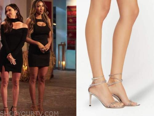 tayshia adams, the bachelorette, embellished wrap sandals