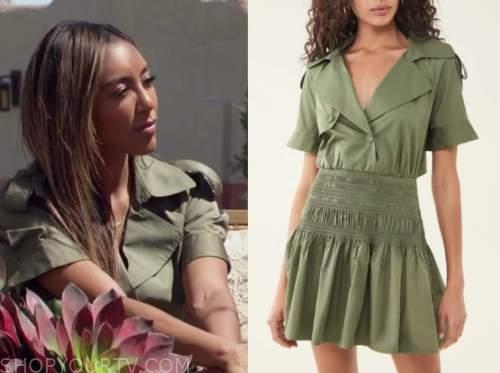 tayshia adams, the bachelorette, green dress
