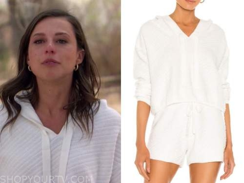 katie thurston, the bachelorette, white hoodie and shorts