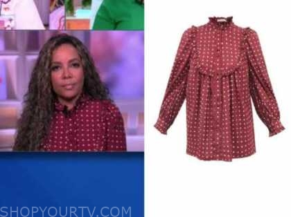 sunny hostin, the view, burgundy dot ruffle blouse