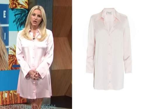morgan stewart, E! news, daily pop, pink satin shirt dress