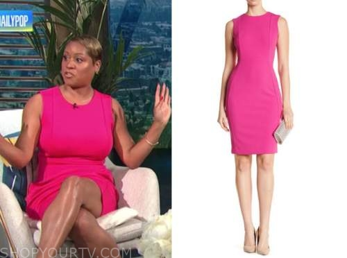 monique kelley, E! news, daily pop, hot pink sheath dress