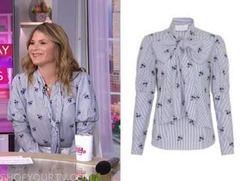 jenna bush hager, the today show, blue striped floral tie neck blouse
