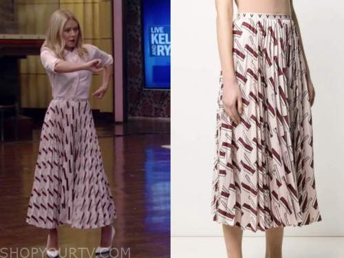 kelly ripa, live with kelly and ryan, pink printed pleated midi skirt