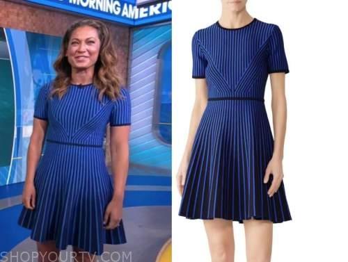 ginger zee, good morning america, blue striped knit dress