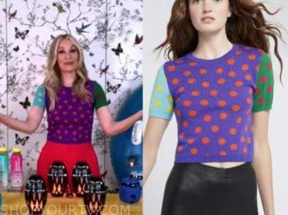 the today show, chassie post, colorblock knit polka dot sweater top