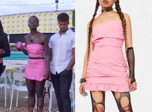 love island usa, pink ruched mini dress, cashay proudfoot