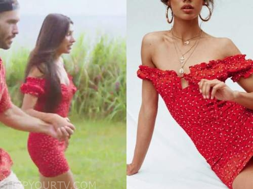 aimee flores, love island usa, red floral dress