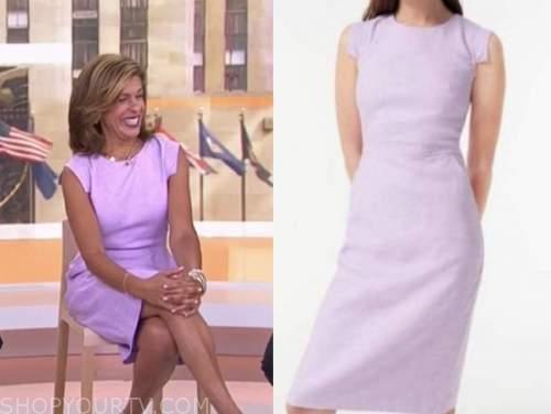 the today show, hoda kotb, purple linen sheath dress