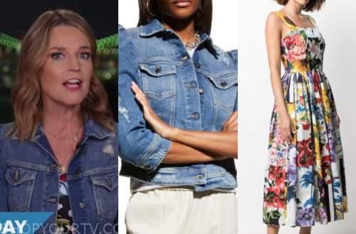 savannah guthrie, the today show, denim jacket, floral midi dress