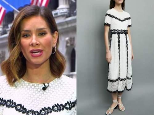 rebecca jarvis, black and white lace midi dress, good morning america