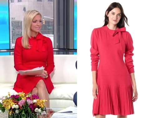 ainsley earhardt, fox and friends, red tie neck dress