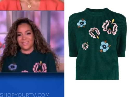 the view, sunny hostin, green floral short sleeve sweater