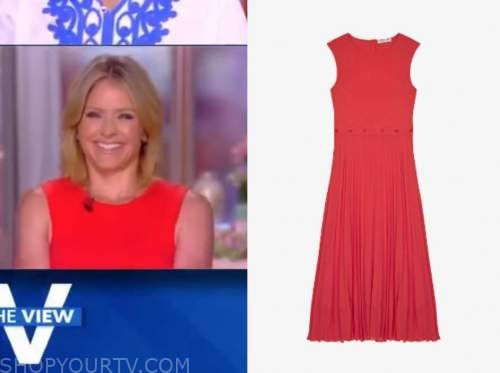 the view, coral pink pleated midi dress, sara haines