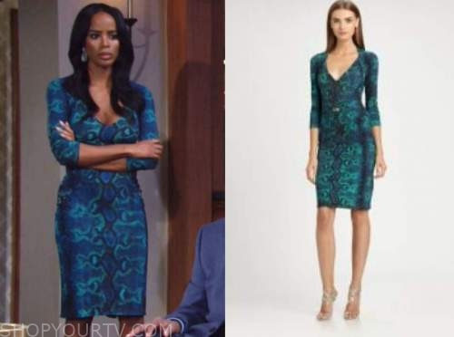 leigh-ann rose, imani benedict, the young and the restless, teal snakeskin dress