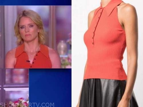 sara haines, the view, red ribbed knit polo top