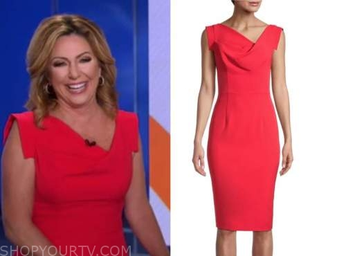 kyra phillips, good morning america, red asymmetric neck dress