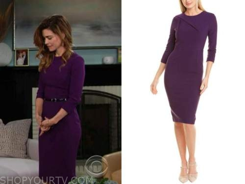 victoria newman, amelia heinle, the young and the restless, purple sheath dress