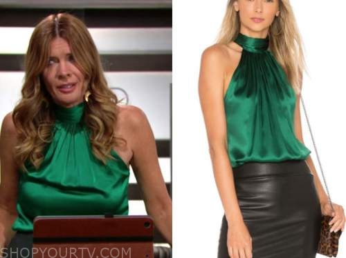 michelle stafford, phyllis newman, the young and the restless, green satin halter top