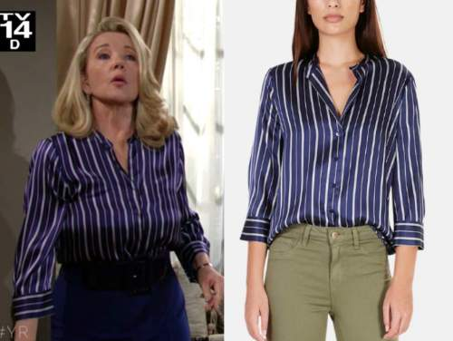 nikki newman, melody thomas scott, the young and the restless, blue striped shirt