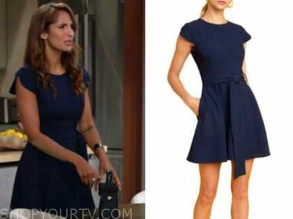 lily winters, christel khalil, the young and the restless, blue dress