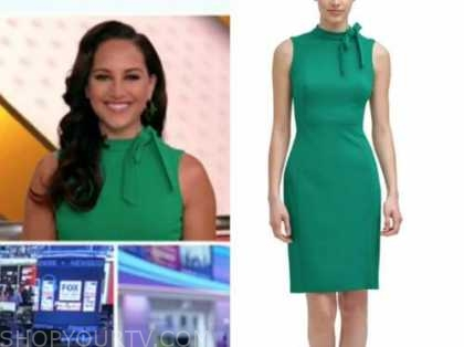 outnumbered, emily compagno, green tie neck sheath dress