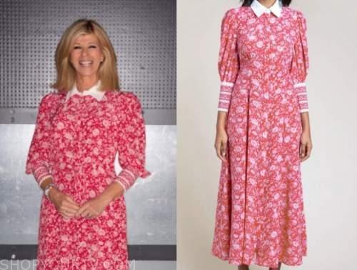 good morning britain, kate garraway, pink printed shirt dress